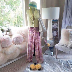 NWT YFB pink orange tie dye wide split leg pants L